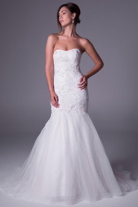 Mermaid Appliqued Strapless Tulle Wedding Dress With Beading