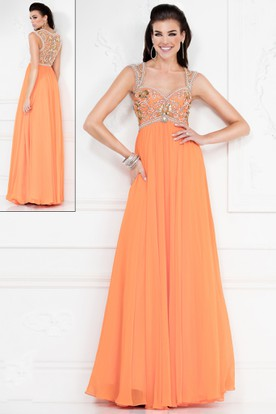 A-Line Long Queen Anne Empire Chiffon Illusion Dress With Beading And Pleats
