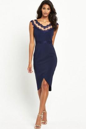 Knee-Length Pencil Cap Sleeve V-Neck Appliqued Chiffon Bridesmaid Dress