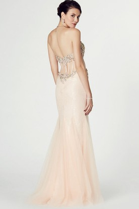 Mermaid Maxi Appliqued Sweetheart Sleeveless Tulle Prom Dress
