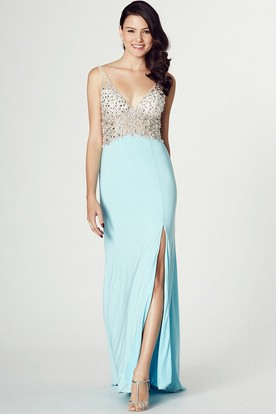 Floor-Length V-Neck Beaded Sleeveless Jersey Prom Dress