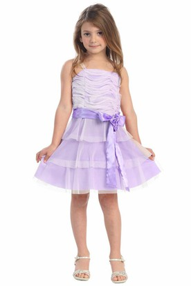 Floral Midi Tiered Flower Girl Dress With Embroidery