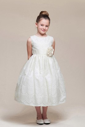 Tea-Length Beaded Floral Lace Flower Girl Dress With Ribbon