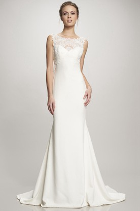 Sheath Lace Sleeveless Floor-Length Bateau Satin Wedding Dress With Deep-V Back And Court Train