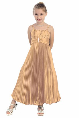 Spaghetti Ankle-Length Pleated Satin Flower Girl Dress