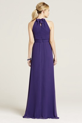 Halter Sleeveless Bowed Chiffon Bridesmaid Dress