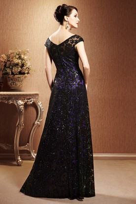 Cap-Sleeved Long Gown With Allover Sequins And V-Back