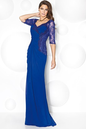 Sheath V-Neck Half Sleeve Appliqued Chiffon Mother Of The Bride Dress With Draping