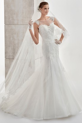 Jewel-neck Cap-sleeve Mermaid Wedding Dress with Appliques and Illusive Design