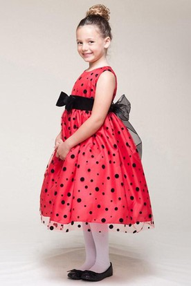 Bowed Sleeveless Flower Girl Dress