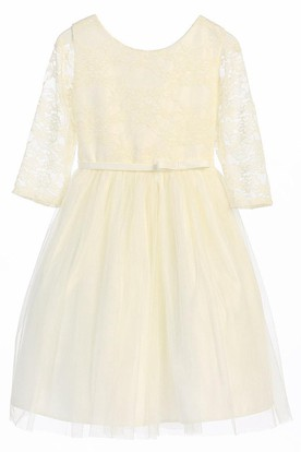 Tea-Length Bowed Lace&Satin Flower Girl Dress