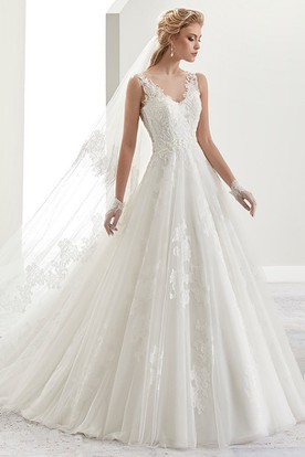 V Neck A Line Brush Train Bridal Gown With Illusive Lace Back And