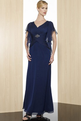 Sheath Ankle-Length Broach V-Neck Poet-Short-Sleeve Chiffon Formal Dress With Low-V Back And Ruching