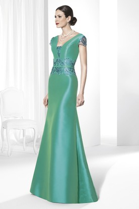 Embroidered Cap-Sleeve Satin Prom Dress