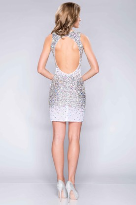 V-Neck Glimmering Short Sheath Prom Dress With Keyhole Back
