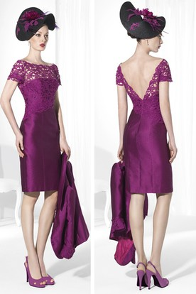 Pencil Knee-Length Half-Sleeve Jacket Satin&Lace Prom Dress