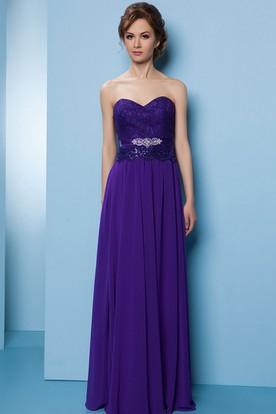 Sweetheart Sleeveless Lace Chiffon Bridesmaid Dress