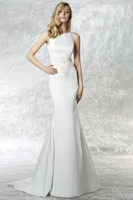 Long High Neck Appliqued Jersey Wedding Dress With Sweep Train