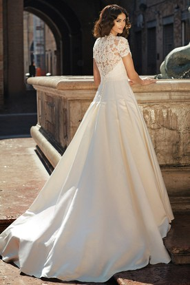 A-Line Short-Sleeve V-Neck Floor-Length Satin&Lace Wedding Dress