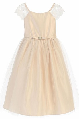 Broach Short Cap-Sleeve Beaded Tulle&Lace Flower Girl Dress