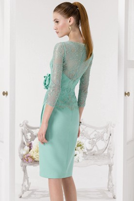 Pencil Jewel-Neck Appliqued 3-4-Sleeve Knee-Length Prom Dress With Beading And Flower