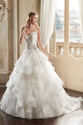 A-Line Draped Sweetheart Organza Wedding Dress With Tiers And Broach