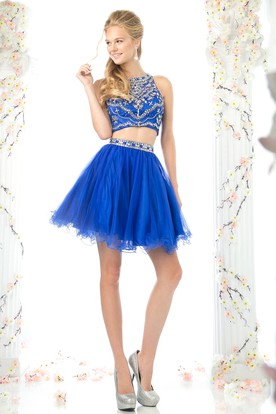 A-Line Short Jewel-Neck Sleeveless Tulle Illusion Dress With Ruffles And Beading
