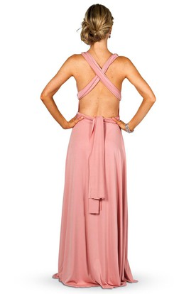 Maxi Sleeveless Strapped Satin Chiffon Convertible Bridesmaid Dress With Ruching