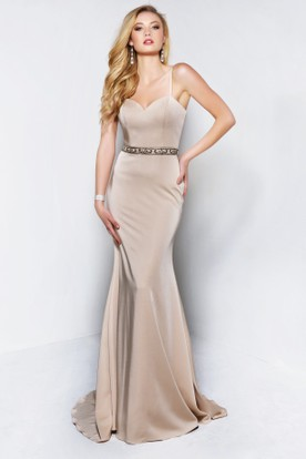 Sheath Scoop-Neck Jersey Dress With Beading And Cape