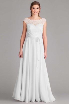 Sheath Short-Sleeve Scoop-Neck Floor-Length Chiffon Wedding Dress With Lace