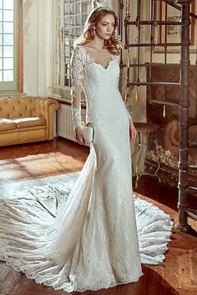 Long-Sleeve Sheath V-Neck Wedding Dress With Illusion And Open Back
