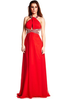 Maxi Sleeveless Beaded Halter Chiffon Prom Dress With Brush Train