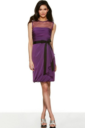 Short Pencil High Neck Sleeveless Ruched Chiffon Bridesmaid Dress