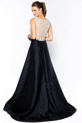 A-Line Long Scoop-Neck Sleeveless Satin Court Train Illusion Dress With Beading