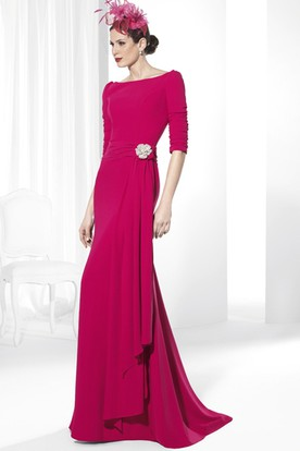 Half-Sleeve Long Scoop-Neck Broach Chiffon Prom Dress With Draping