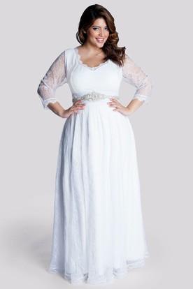 A-Line Floor-Length V-Neck Long Sleeve Lace Waist Jewellery Zipper Dress