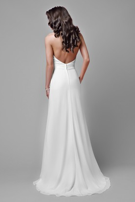 Lace And Chiffon Sleeveless Wedding Dress With Halter And Open Back