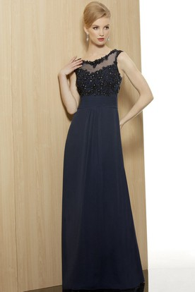 Sheath Beaded Sleeveless Floor-Length V-Neck Chiffon Formal Dress With Illusion Back And Appliques