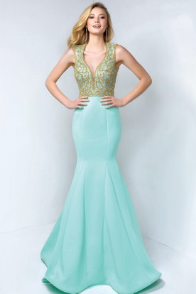Mermaid Long V-Neck Sleeveless Satin Keyhole Dress With Beading