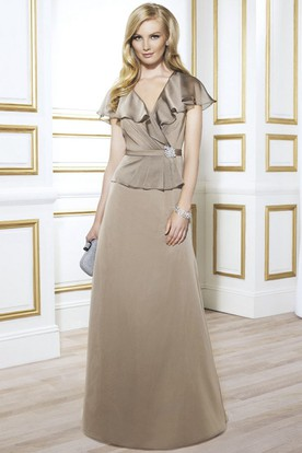 V-Neck Ruched Poet Sleeve Jersey Mother Of The Bride Dress With Broach And Peplum