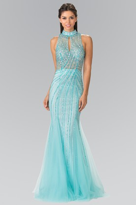 Illusion Mermaid Long High Neck Sleeveless Tulle Keyhole Dress With Beading