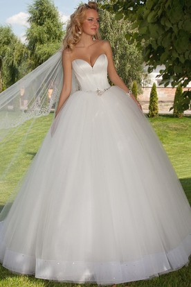 Long Sweetheart Jeweled Tulle Wedding Dress With Chapel Train And Corset Back