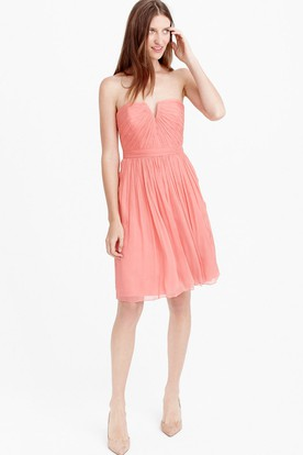 Knee-Length Sleeveless Notched Ruched Chiffon Bridesmaid Dress