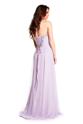 Sleeveless Ruched Sweetheart Chiffon Prom Dress With Beading And Lace-Up