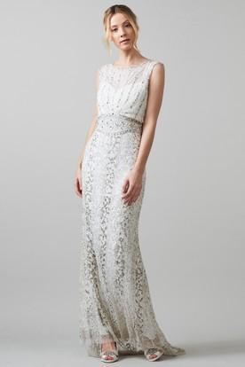 Sheath Long Scoop Neck Sleeveless Tulle Wedding Dress With Crystal Detailing And Keyhole