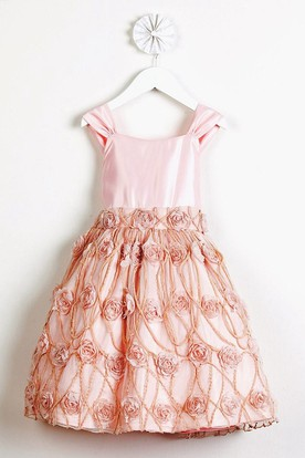 Midi Sweetheart Tiered Embroideried Empire Satin Flower Girl Dress