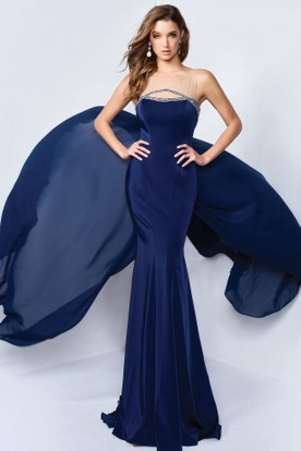 Sheath Floor-Length Bateau Sleeveless Jersey Dress