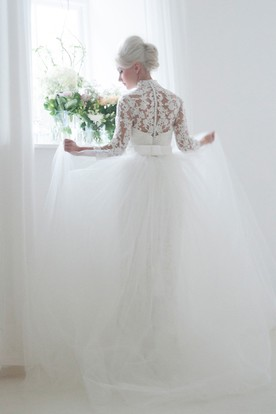 Ball Gown High Neck Long-Sleeve Lace&Tulle Wedding Dress With Illusion