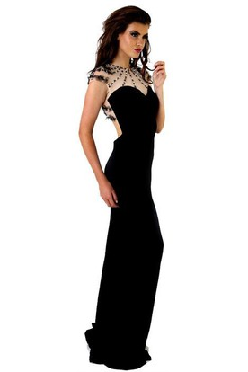 Sheath Cap-Sleeve Maxi Jewel Beaded Jersey Prom Dress With Keyhole Back And Flower