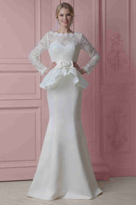 Peplum wedding dress with lace sleeves ucenter dress peplum wedding dress with lace sleeves junglespirit
